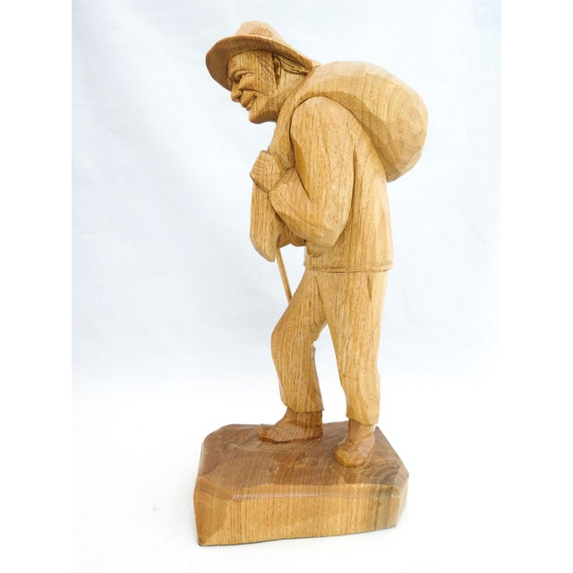 Signed Caron Quebec Wood Carving Old Man w/Walking Stick and Bundle on Back 13""