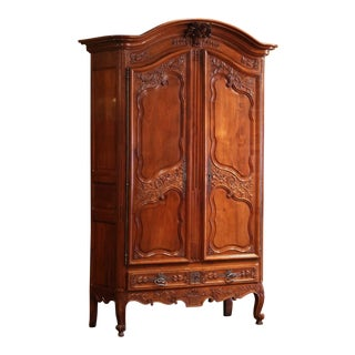 18th Century Louis XV Carved Arched Cherry Armoire From Southwest France For Sale