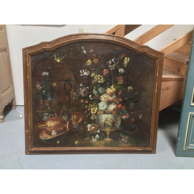 Beautifully painted early 20th Century Large Venetian Oil Painting Of Flowers, Porcelain and Copper. Well detailed tulips...