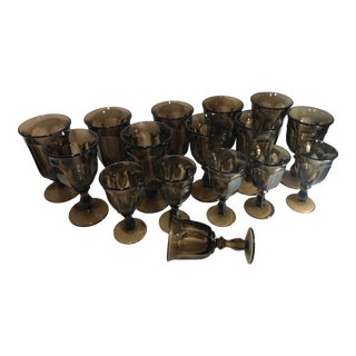 1970s Old Williamsburg Nut Brown Glass Goblet Drinkware Set of 16 For Sale