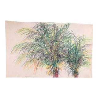1980s Inga-Britta Mills Tropical Palms Drawing For Sale