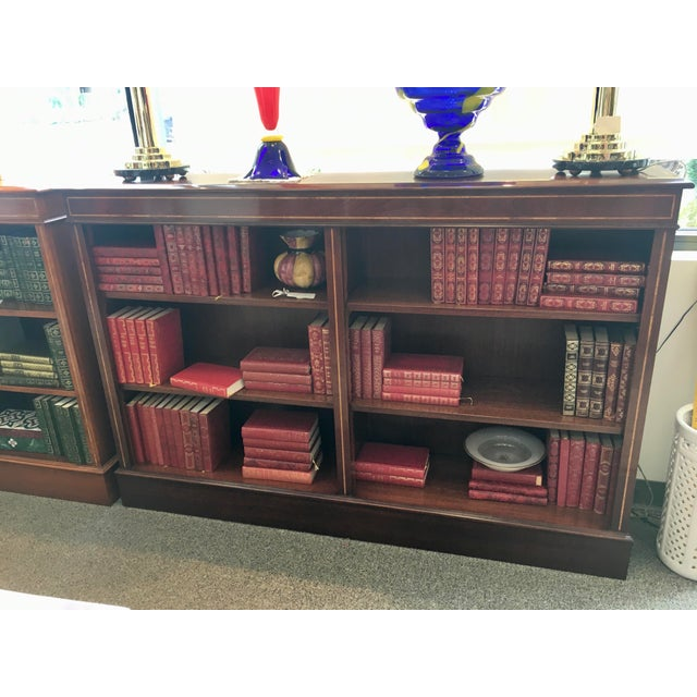 English Custom Double Mahogany Low Bookcase For Sale - Image 4 of 6