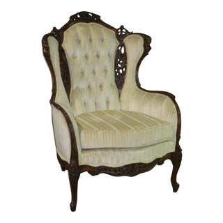 1960s Vintage Carved Walnut French Style Tufted Wing Chair For Sale