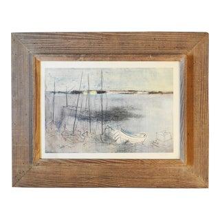 Mid Century Joe Jones Modernist Harbor Print For Sale