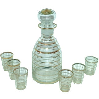 7-Piece Gold Stripe Decanter & Glasses For Sale