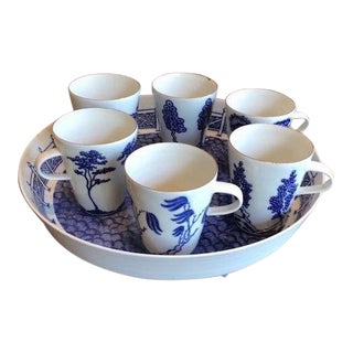 Rare Paul Scott & Ann Linnemann Blue & White Studio Pottery Coffee Set For Sale