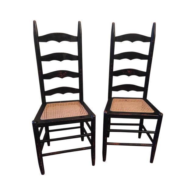 Rustic Ladder Back Cane Chairs - A Pair - Image 1 of 6