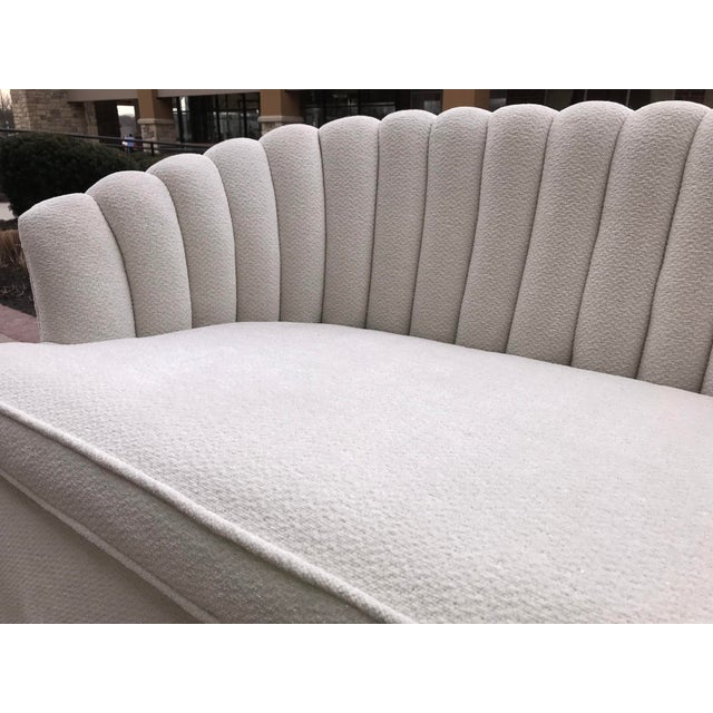 1940s Vintage Channel Back White Chenille Settee Loveseat Hollywood Regency Era For Sale - Image 6 of 9