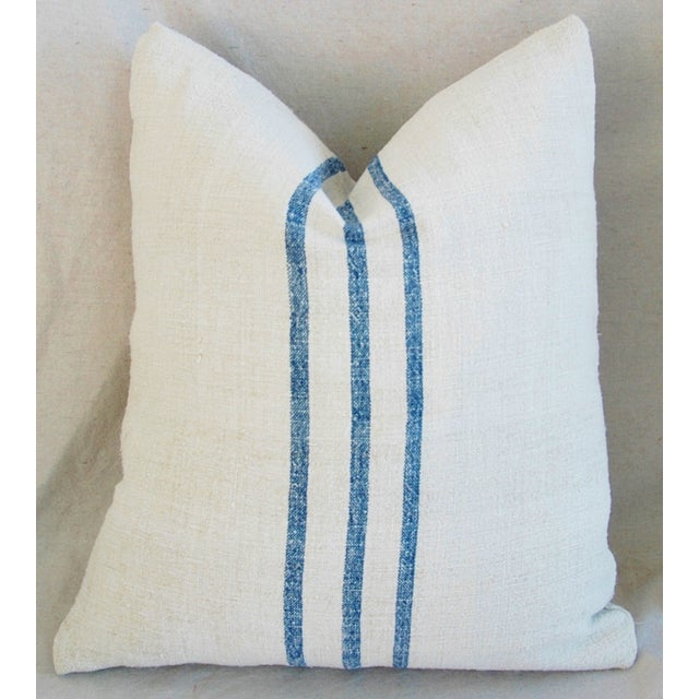 French Grain Sack Down & Feather Pillows - Pair - Image 5 of 11