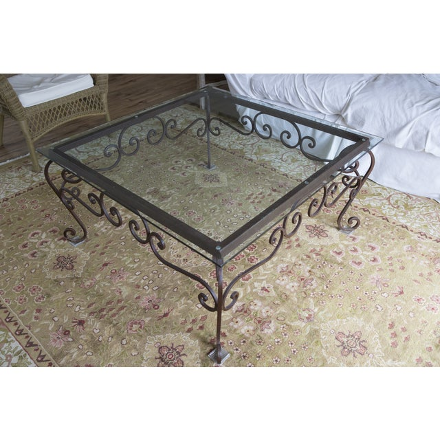 Traditional Brimfield Iron and Glass Coffee Table For Sale - Image 3 of 4