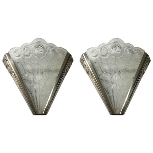 Verrerie des Hanots Signed Pair of French Art Deco Sconces - A Pair - Image 1 of 7