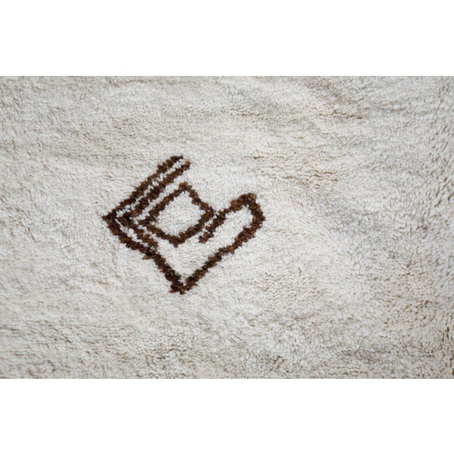 "Textile ""Symbol"" White Moroccan Berber Rug With Brown Tribal Symbols - 8'7"" X 5'2"" For Sale - Image 7 of 13"