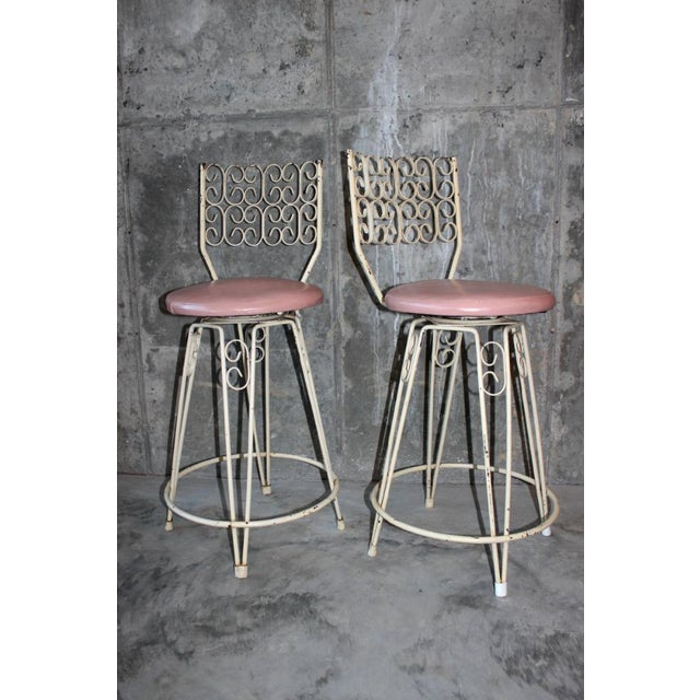 Pink Arthur Umanoff Mid-Century Wrought Iron Bar Stools - a Pair For Sale - Image 8 of 8