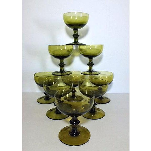 Carlo Moretti 1960s Carlo Moretti Style Green Champagne Coupes - Set of 9 For Sale - Image 4 of 4