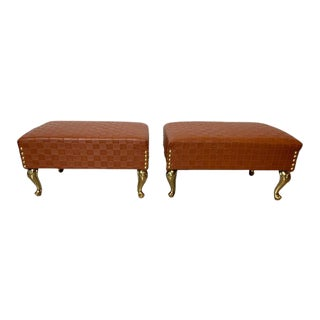 Decorative Foot Stools New Faux Leather Upholstery With Brass Legs- a Pair For Sale