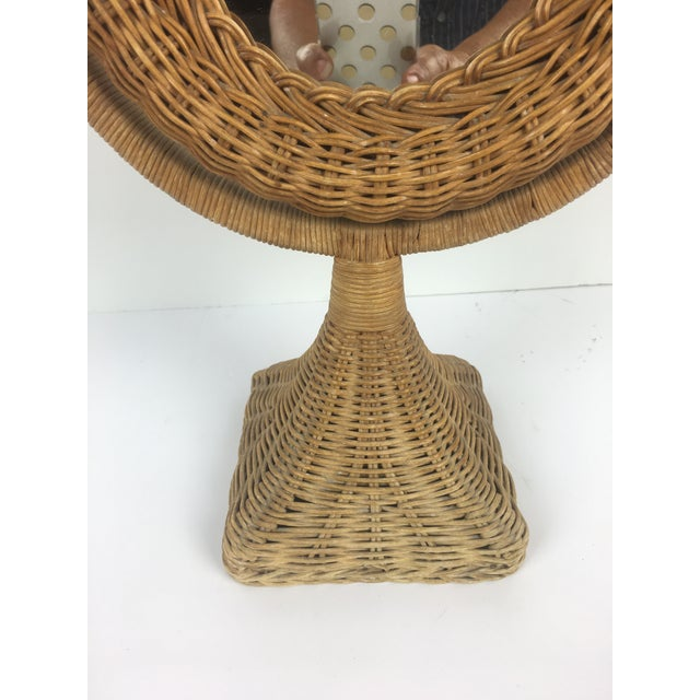 1970s Boho Chic Rattan Table Mirror For Sale - Image 4 of 5