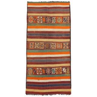Vintage Mid-Century Berber Moroccan Kilim Rug - 5′2″ × 11′ For Sale
