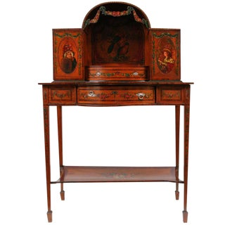 19th C. English Painted Satinwood Writing Desk With Sterling Silver Mounts For Sale