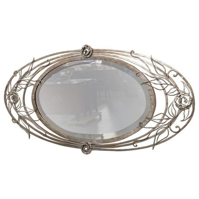 French Art Deco Geometric and Floral Wall Mirror For Sale - Image 10 of 10