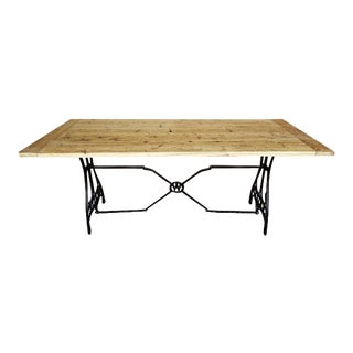 Vintage Rustic Handcrafted Natural Reclaimed Pine Wood Dining Table For Sale
