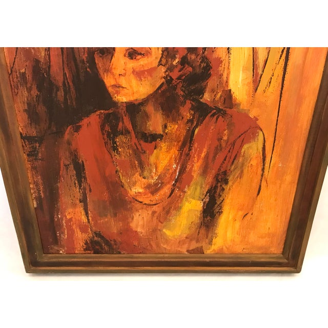 Mid-Century Original Portrait of a Woman Painting For Sale In Dallas - Image 6 of 13