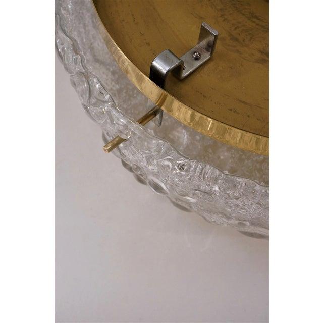 Brass 1970s Hillebrand Flush Mount Brass & Glass Shade, German For Sale - Image 8 of 11
