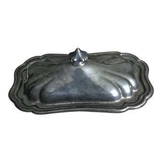 1960s Gorham Heritage Yh18 Silver Plate 3 Piece Butter Dish With Glass Insert For Sale