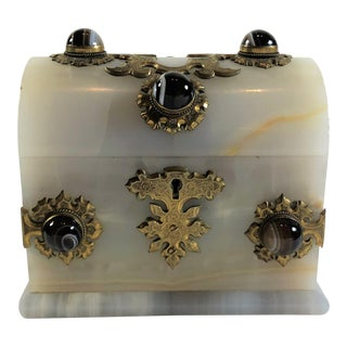 Antique Onyx and Scottish Agate Jewel Box, Circa 1860-1870. For Sale