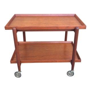 Danish Poul Hundevad Teak Bar Cart For Sale