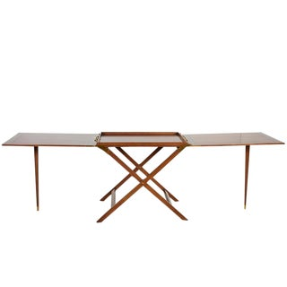 Baker Furniture Company Mid Century Mahogany Party Butler Table or Server With Serving Tray or Bar Cart