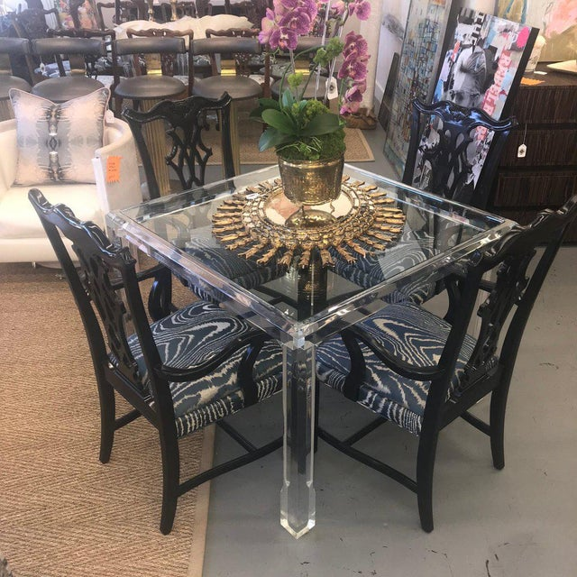 Vintage Mid Century Modern Lucite and Glass Dining Table For Sale - Image 9 of 10