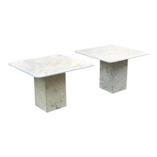 Mid 20th Century Italian White Marble Side Tables - a Pair For Sale