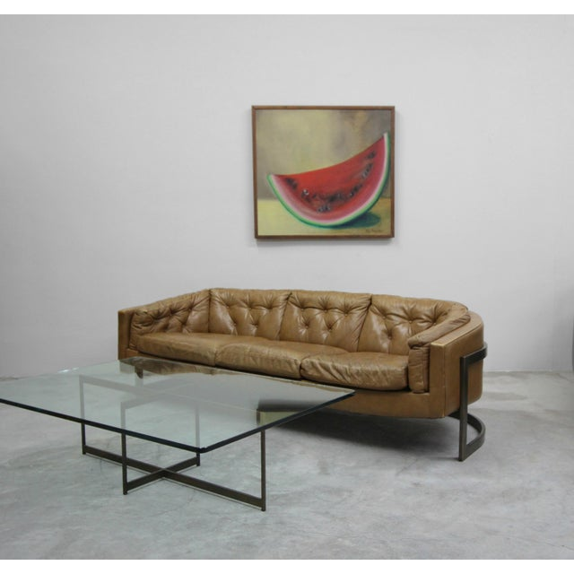 Contemporary Mid Century Minimalist Italian Bronze Base Coffee Table For Sale - Image 3 of 10