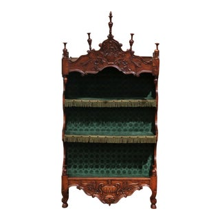 19th Century French Louis XV Carved Walnut Wall Estanier Shelf From Provence For Sale