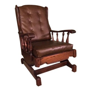1960s Vintage Dark Wood Rocking Chair For Sale
