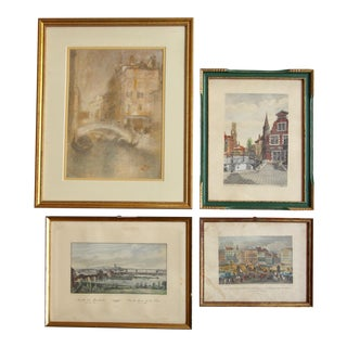 Framed European Prints - Set of 4 For Sale