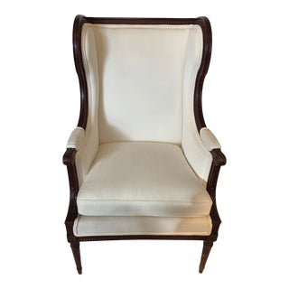 Carved Walnut and Upholstered Wingback Club Chair For Sale