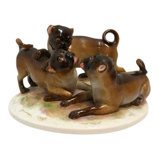 Antique Meissen Trio of Pug Dogs Porcelain Figurine For Sale