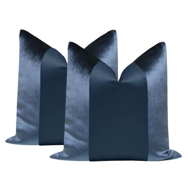 """2010s Prussian Blue Velvet & Silk Panel 22"""" Pillows - a Pair For Sale - Image 5 of 5"""