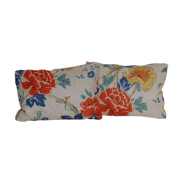 GP Baker Linen Floral Pillows - A Pair - Image 1 of 4