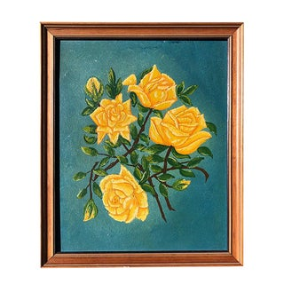 1920s Vintage Floral Motif Yellow Citron Rose Framed Painting For Sale