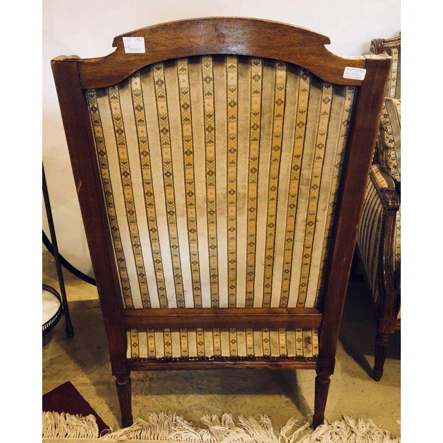 Louis XVI Living Room Suite Couch and Two Lounge Chairs - Set of 3 For Sale - Image 9 of 14