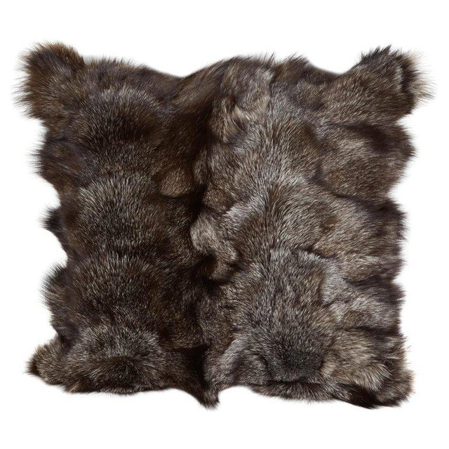 Pair of Luxe Genuine Fox Fur Pillows in Hues of Grey For Sale - Image 4 of 7