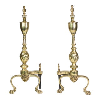 1920's Regency Brass Footed Fireplace Andirons With Shell Motif - a Pair For Sale