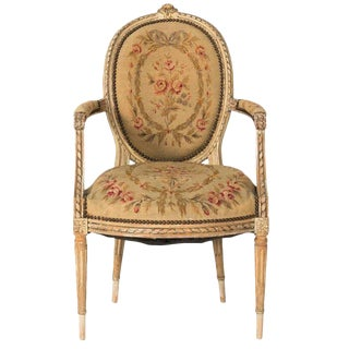 19th Century Aubusson Tapestry Upholstered Bergere Chair For Sale