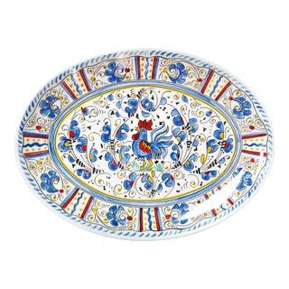 """Rooster Blue 16"""" Melamine Oval Platter, Set of 2 For Sale"""