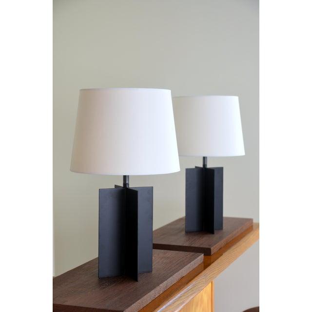 Medium 'Croisillon' Matte Black Steel Table Lamps by Design Frères - a Pair For Sale - Image 9 of 11