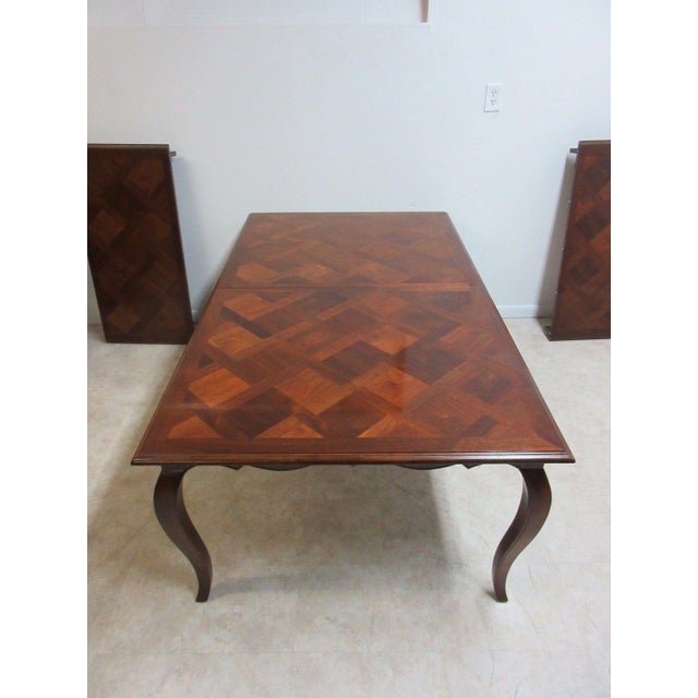 Henredon Country French Parquet Top Carved Banquet Conference / Dining Table For Sale - Image 10 of 11