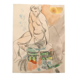 Male Nude Collage & Watercolor Painting by James Bone For Sale