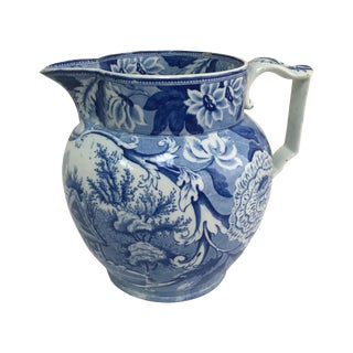Antique 19th C. English Blue Transferware Pitcher For Sale